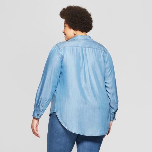 ce53c5827085c8 Women s Plus Size Long Sleeve No Gap Button-Down Adjustable Shirt - Ava    Viv™ Dark Blue   Target