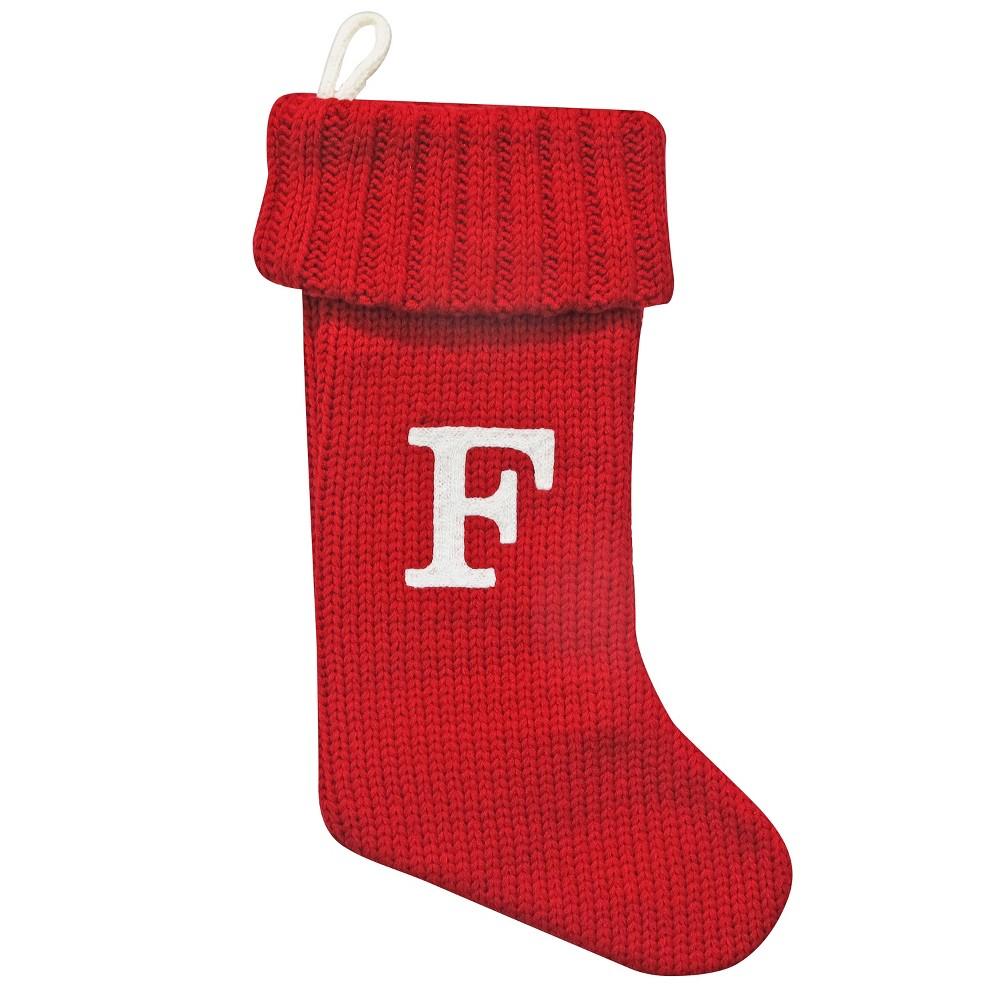 Knit Monogram Christmas Stocking Red F - Wondershop
