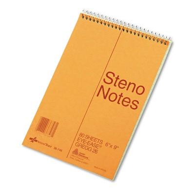 National Standard Spiral Steno Book Gregg Rule 6 x 9 Green 80 Sheets 36746