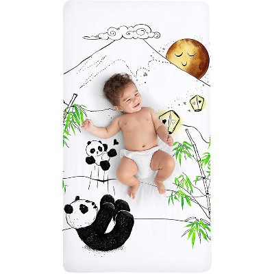 JumpOff Jo Fitted Crib Sheet - Cotton Crib Sheet for Standard Sized Crib Mattresses - Hypoallergenic and Breathable - 28 x 52 Inches - Playful Pandas