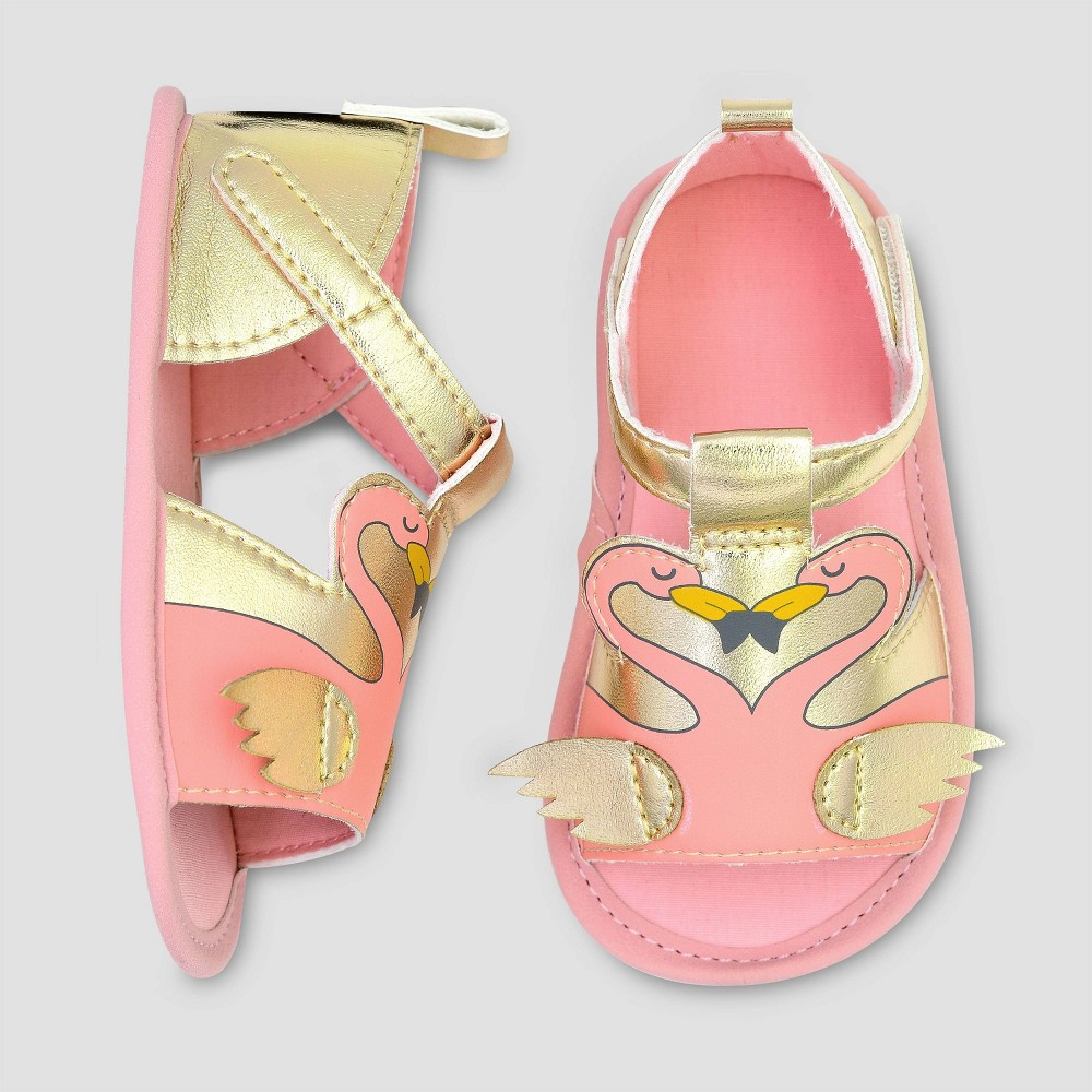 Image of Baby Girls' Flamingo Ankle Strap Sandals - Cat & Jack Pink/Gold 0-3M, Girl's, Gold Pink