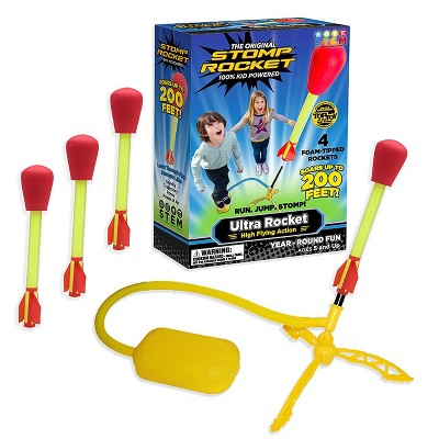 Stomp Rocket Ultra High Flying Foam Tipped Rockets with Launch Pad