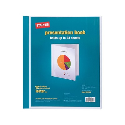 Staples Presentation Binder 12 Sleeve Capacity White (21621) 463372