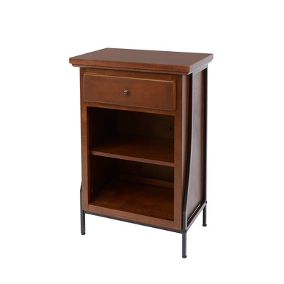 2 Tier Floor Shelf with Drawer Brown - Silverwood