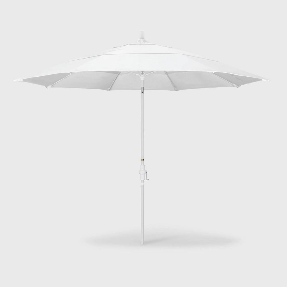 Image of 11' Sun Master Patio Umbrella Collar Tilt Crank Lift - Sunbrella Natural - California Umbrella