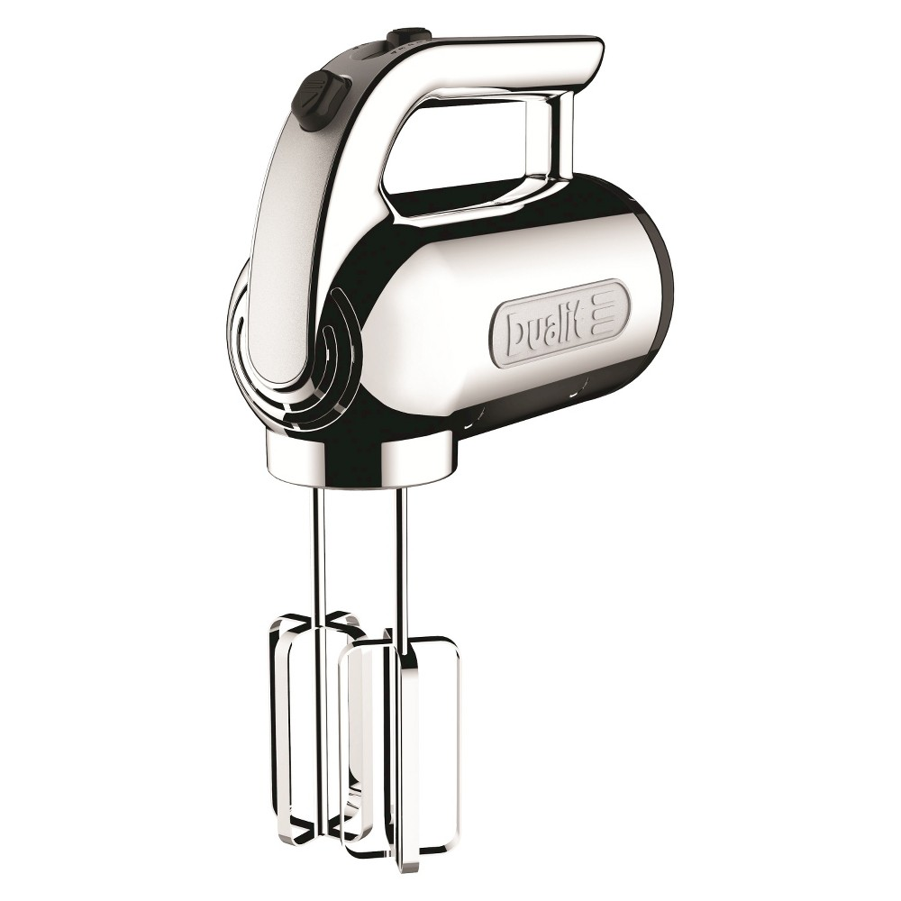 Dualit Chrome Hand Mixer, Hand Mixer Make baking a breeze with the Dualit Chrome Hand Mixer. This 5-speed Hand Mixer includes everything you need to easily whip up your next baking masterpiece. Included with this Chrome Mixer are 2 over-sized flat beaters, 2 dough hooks and 1 balloon whisk. All blades are made of durable, stainless steel and can quickly be removed with the handy beater eject button. Unlike bulky stand mixers, this compact Hand Mixer has a retractable power cord and can be neatly stored away in your kitchen drawers or cabinets when not in use.