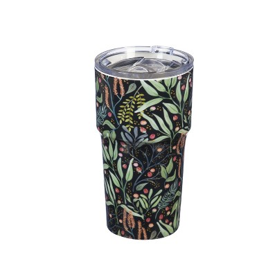 Evergreen Flag Double Wall Ceramic Companion Cup with with Tritan Lid, 13 OZ, Floral Cadence
