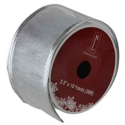 """Northlight Textured Silver Christmas Wired Craft Ribbon 2.5"""" x 10 Yards"""