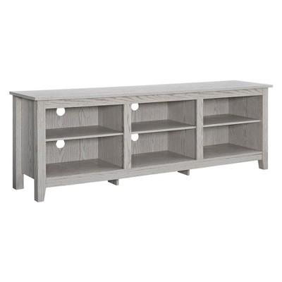 70  Wood Media TV Stand Storage Console - White Wash - Saracina Home