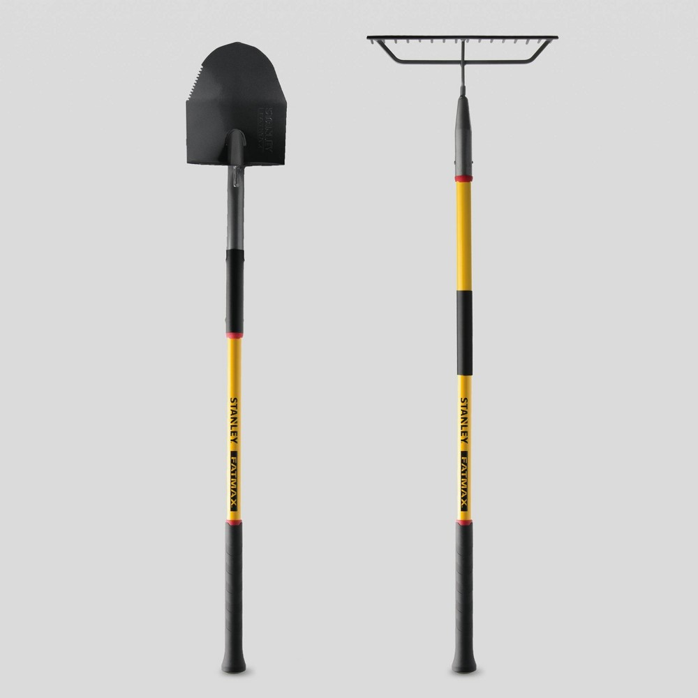 Image of 2pk Fatmax Fiberglass Round Point Shovel & Fiberglass Bow Rake Yellow - Stanley