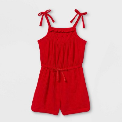Toddler Girls' Eyelet Romper - Cat & Jack™ Red