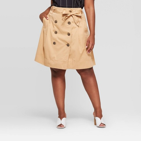 b99ecda5703de5 Women's Plus Size Button Front Belted Trench Skirt - Who What Wear™ Taupe :  Target