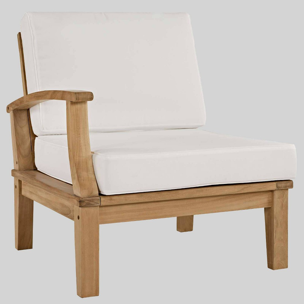 Marina Outdoor Patio Teak Left-Facing Sofa in Natural White - Modway