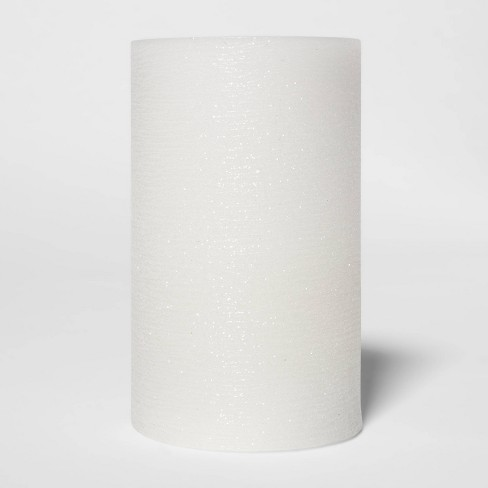 "5"" x 3"" LED Distressed Shimmer Flameless Pillar Candle White - Threshold™ - image 1 of 4"