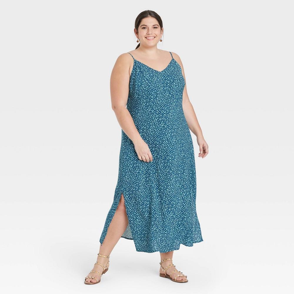 Women 39 S Plus Size Floral Print Slip Dress A New Day 8482 Blue 2x