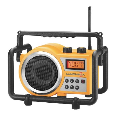 Sangean LB-100 Lunchbox Rugged Industrial Worksite Job Garage Shop Caged Compact AM FM Radio with Roll Cage, Shock Blocks, and Preset Stations, Yellow