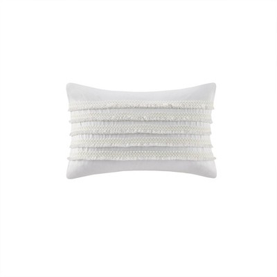 "12""x20"" Daria Cotton Oblong Pillow Ivory"