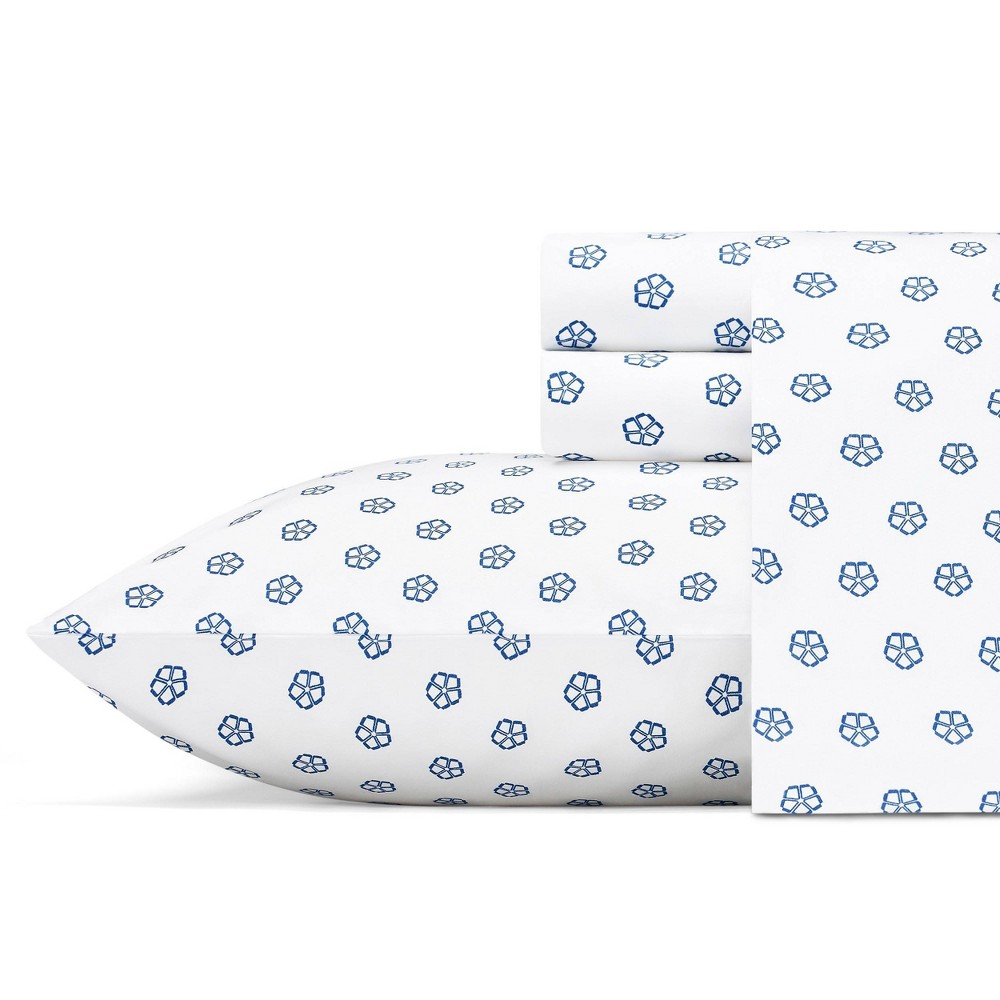 Image of Queen Printed Pattern Percale Sheet Set Blue Flower - Trina Turk