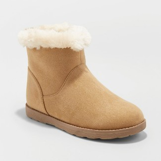 Girls Haiden Microsuede Fleece Ankle Fashion Boots - Cat & Jack™ Tan 5