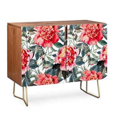Marta Barragan Camarasa Flowers Credenza Gold Legs Red/Floral - Deny Designs