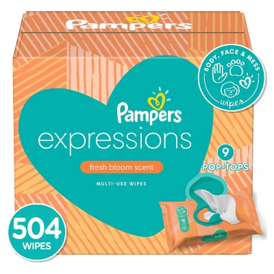 Pampers Expressions Fresh Bloom Baby Wipes 9x - 504ct