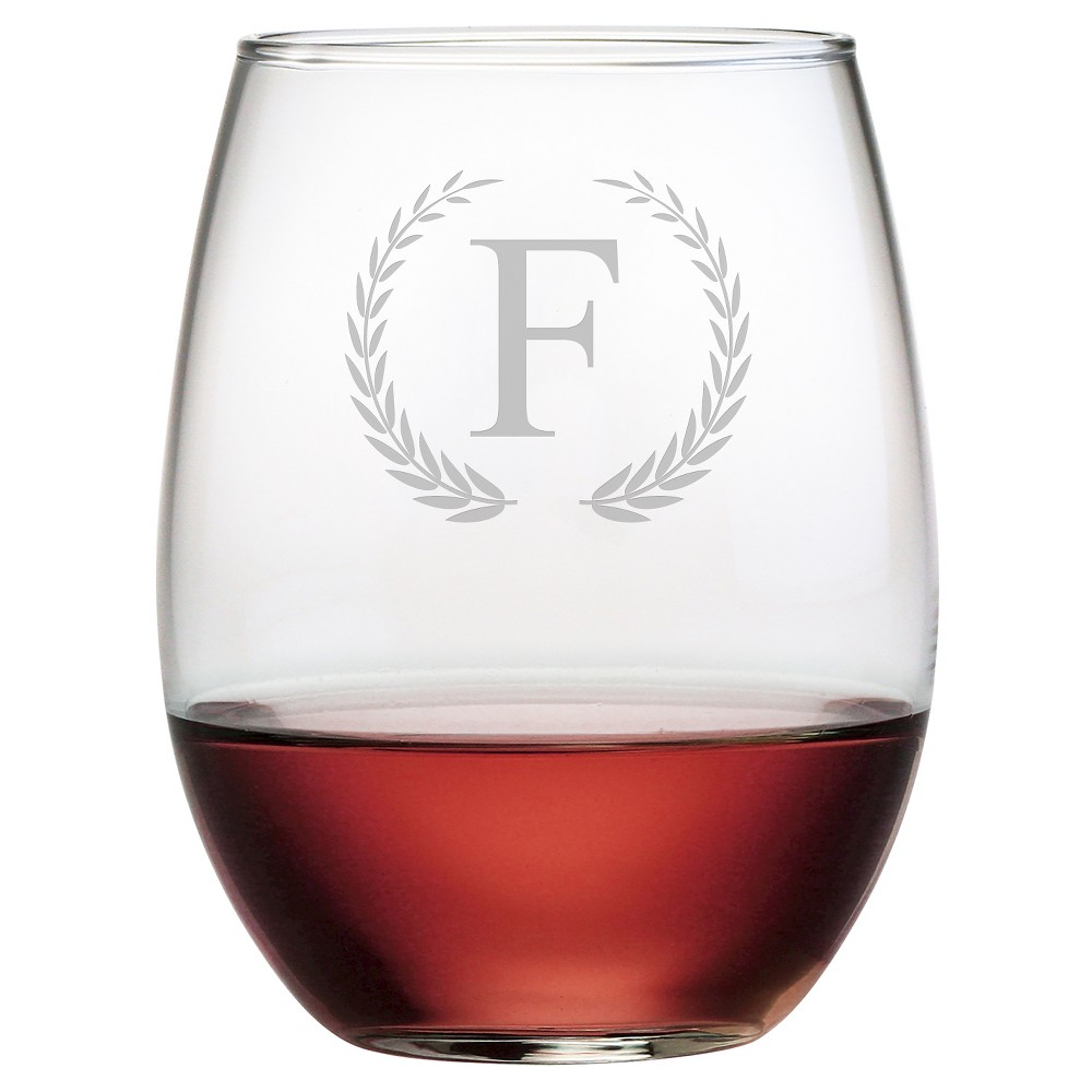 Susquehanna 21oz Glass Wreath Monogram Stemless Wine Glasses F Set Of 4