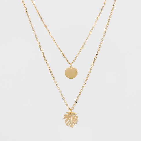 Coin and Leaf Short Necklace - A New Day™ Gold - image 1 of 4