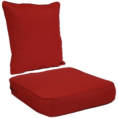 2pc Indoor/Outdoor Deep Seat Chair Cushion Set - Red - Sunnydaze Decor