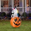 Gemmy Airblown Unicorn w/Colorchanging Horn out of Pumpkin Scene (RGB), 5 ft Tall, Multicolored - image 2 of 2