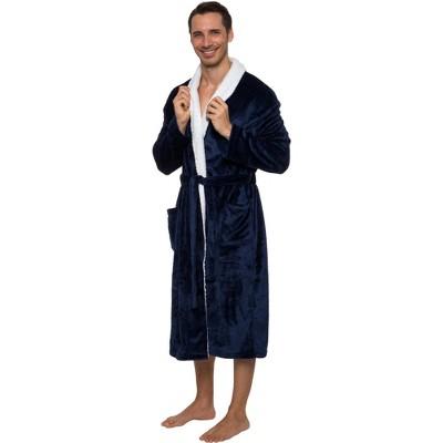 Ross Michaels Men's Plush Luxury Bathrobe with Sherpa Trim