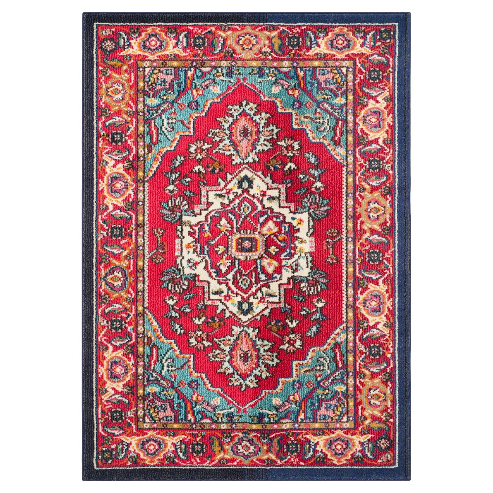 Image of Essie Accent Rug - Red/Turquoise (4'x5'7) - Safavieh
