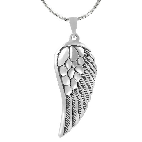 Sterling Silver Angel Wing Necklace - Silver - image 1 of 4