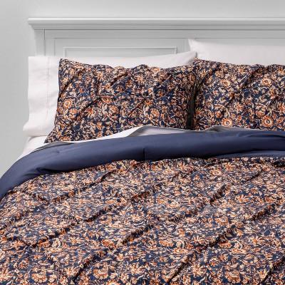 Twin Extra Long Pinch Pleat Comforter & Sham Set Navy Floral - Threshold™