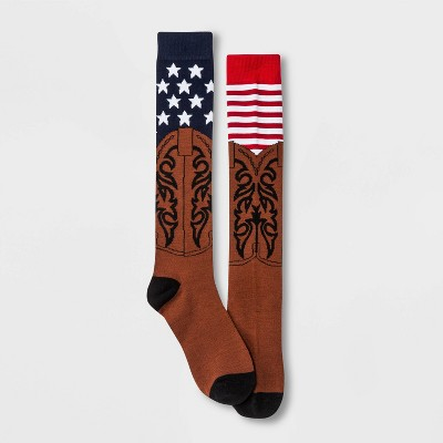 Women's Cowboy Boots and American Flag Knee High Socks - Red/White/Blue 4-10