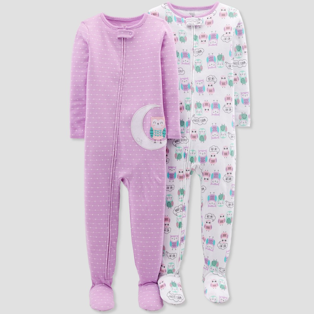 Toddler Girls' Owl Footed Sleeper Pajama Set - Just One You made by carter's Purple 2T