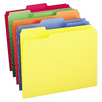 Smead® File Folders, 1/3 Cut Top Tab, Letter, Bright - Multicolor, 100/Box
