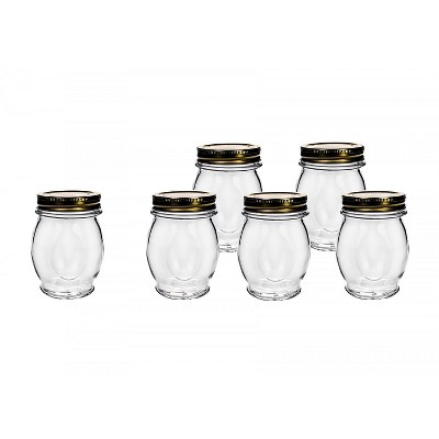 Amici Home Italian Glass Canning Jar, 13.75oz, Set of 6