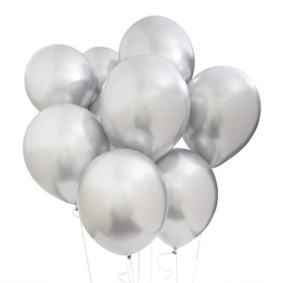 """Blue Panda 50 Packs Metallic Chrome Helium Silver Balloons 12"""" for Birthday Party Decorations"""