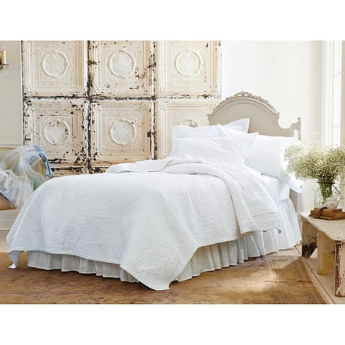 white rose stitch quilt full queen simply shabby chic target