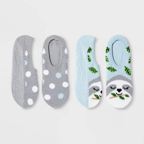 Women's Sloth 2pk Cozy Pull-On Liner Socks -Blue/Gray 4-10 - image 1 of 1