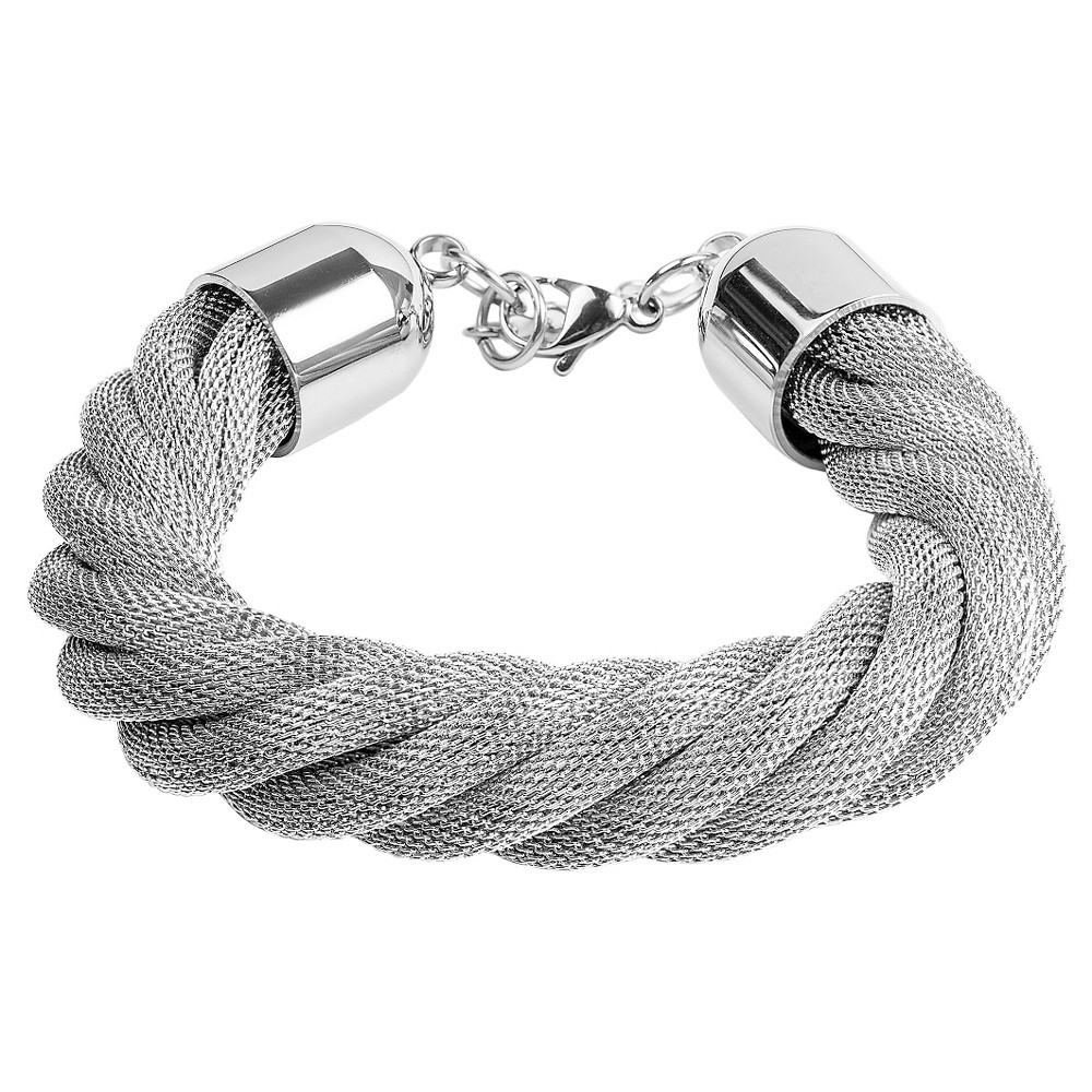 Image of West Coast Jewelry Stainless Steel Twisted Mesh Bracelet, Women's, Size: Small, Silver