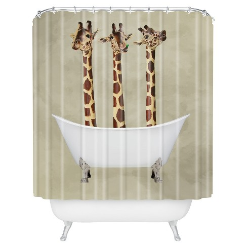 Giraffe Shower Curtain Brown - Deny Designs® - image 1 of 4