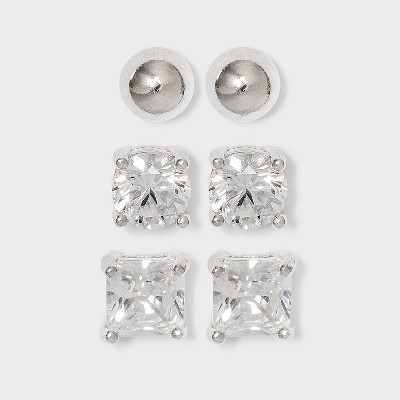 Cubic Zirconia and Sterling Silver Round and Square Earring Set 3pc - A New Day™ Silver/Clear