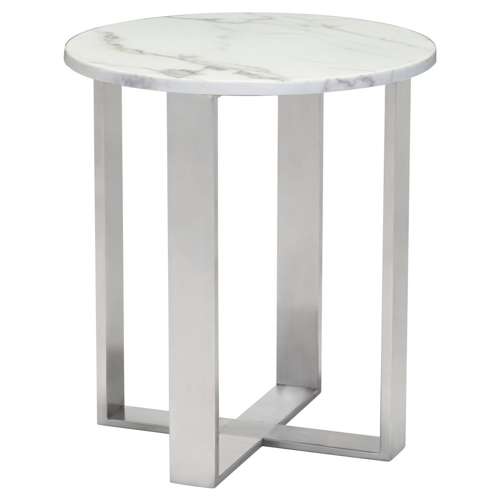 Modern Round Faux Marble Side Table - Stone (Grey), Brushed Stainless Steel - Zm Home