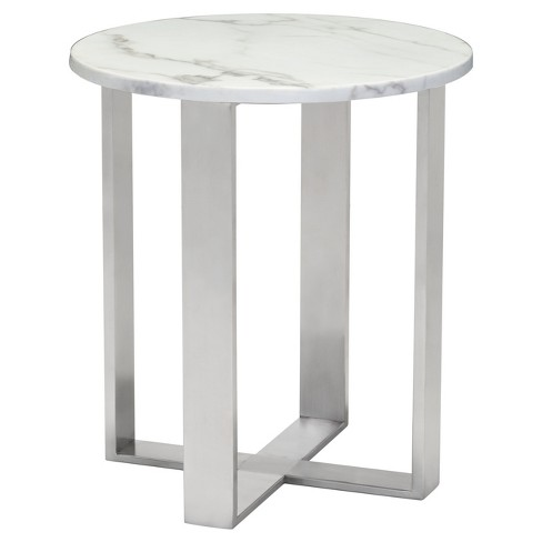 Modern Round Faux Marble Side Table - Stone, Brushed Stainless Steel - Zm Home - image 1 of 5