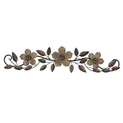 38 X 9 Floral Patterned Wood Over The Door Wall Dcor Stratton Home Decor Target