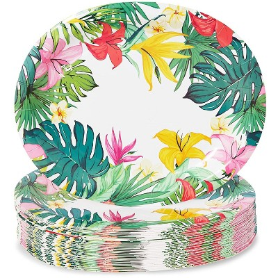 Sparkle and Bash 48 Disposable Party Paper Plates, Summer BBQ Beach Hawaiian Luau Birthday Supplies 12 in.