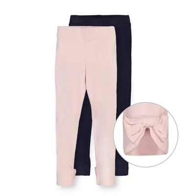 Hope & Henry Girls' Jersey Legging With Bow (Set of 2), Kids
