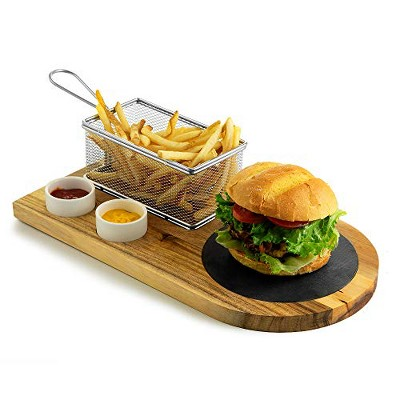 Yukon Glory Burger Board Set, Includes Premium Acacia Wood Board With Slate, Stainless Steel Fry Basket, Porcelain Condiment Cups