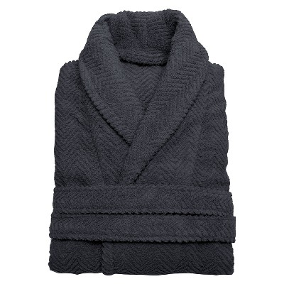 Herringbone Weave Bathrobe Unisex Linum Home - Gray (Small/Medium)